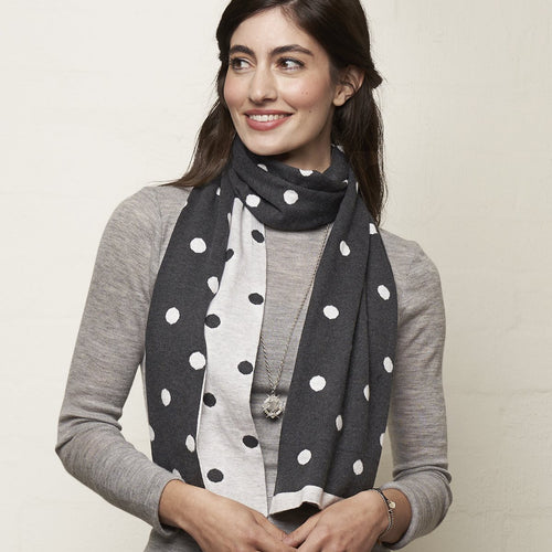 Dots Duets Scarf Charcoal/Grey