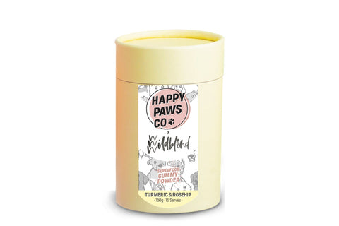 Yellow container superfood gummy powder for dogs