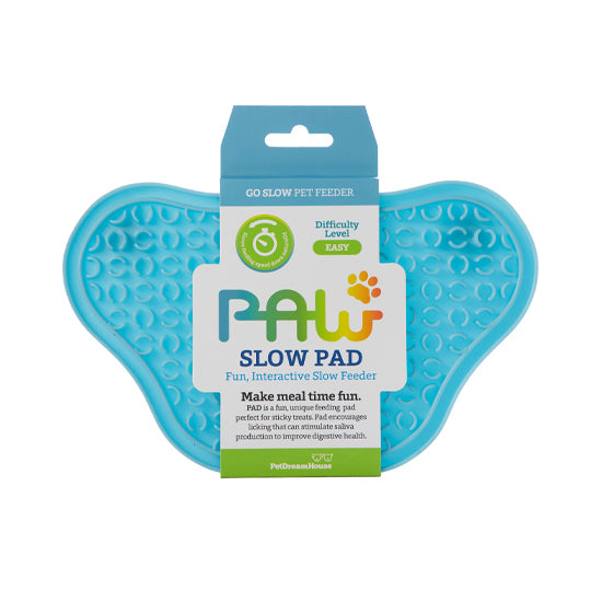 PAW Lick Pad Slow Feeder & Anti-Anxiety Food Mat for Cats & Dogs - Blue
