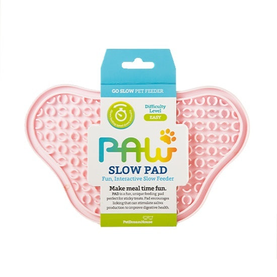 PAW Lick Pad Slow Feeder & Anti-Anxiety Food Mat for Cats & Dogs - Baby Pink