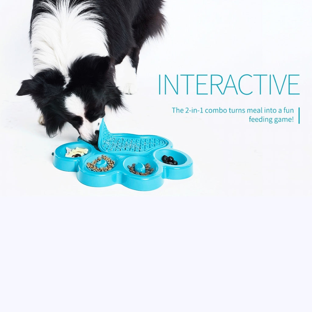 PAW 2-in-1 Slow Feeder & Anti-Anxiety Food Lick Pad and Bowl Combo for Cats & Dogs- Blue