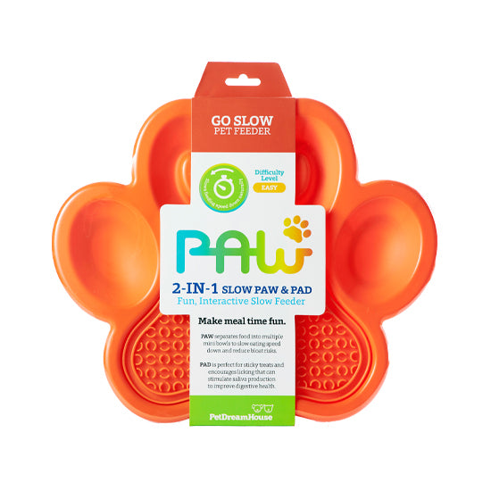 PAW 2-in-1 Slow Feeder & Anti-Anxiety Food Lick Pad and Bowl Combo for Cats & Dogs - Orange