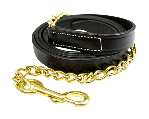 "Leather Lead with 30"" Chain - 58030"