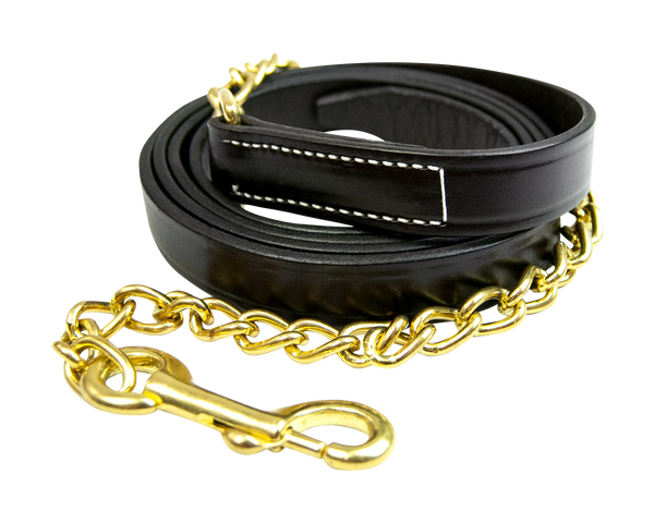 "Leather Lead with 24"" Chain - 58024"