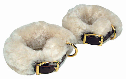 Leather Shackle Cuffs with Sheepskin - 8092