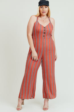 Jumpsuit with Button Detail and criss-cross back tie