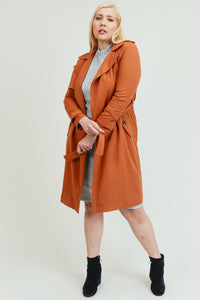 Rustic Trendy Trench Coat w/ Tie