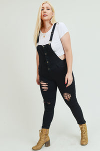 Black Ripped Button up Overalls