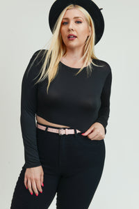 Long Sleeve Black Crop Top