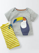 Toddlers Grey T-Shirt With Parrot Design and Yellow Striped Shorts