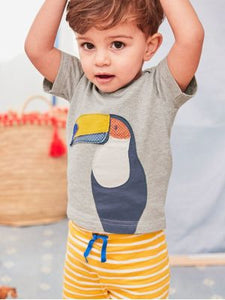 Grey T-Shirt With Parrot Design and Yellow Striped Shorts