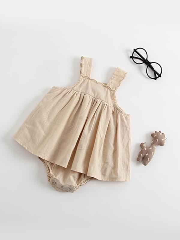 Beige Sleeveless Snap Dress