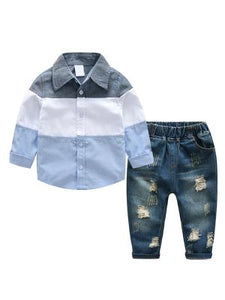 2-piece Color Block collared Shirt ripped denim Jeans Set - POSHBEAR
