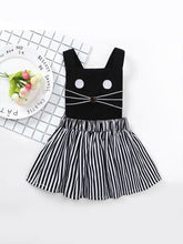 Black Sleeveless Stripped Cute Cat Baby Dress