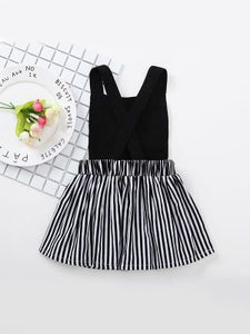 Black Sleeveless Stripped Cute Cat Dress