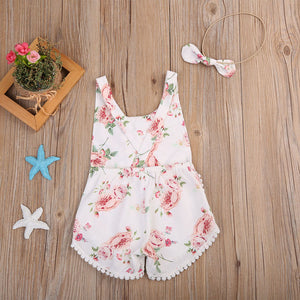 Floral Romper With Crochet Detail And Matching Head Piece Baby outfit - POSHBEAR