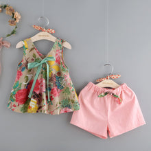 Floral Printed Sleeveless Top, Headband and Shorts baby outfit