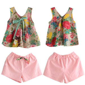 Floral Printed Sleeveless Top and Shorts baby set