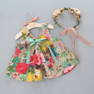 Summer Floral Printed Sleeveless Top, Headband and Shorts