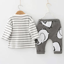 Elephant Stripped Long Sleeve and Elephant Grey Pants baby outfit