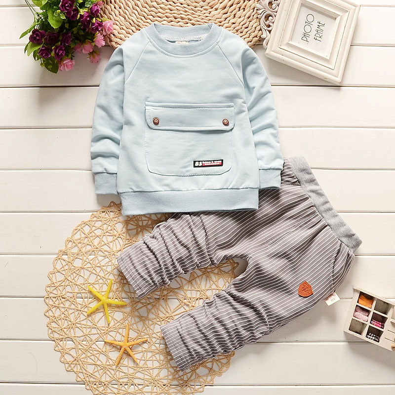 Light Blue Long Sleeve and Grey Pants baby set