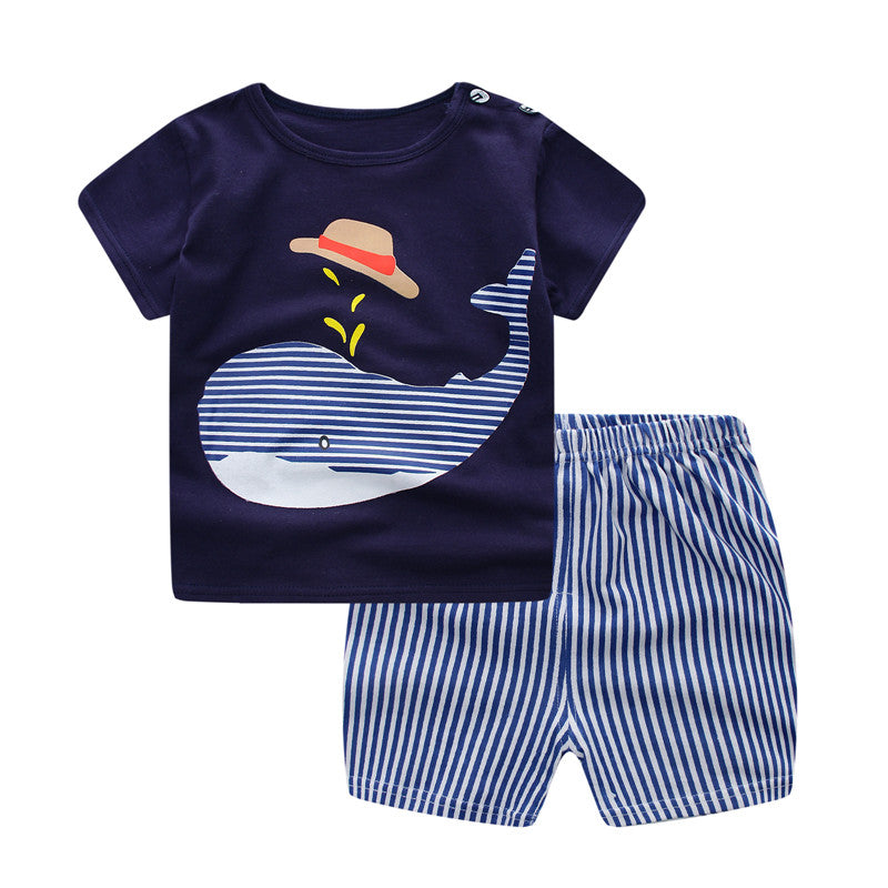 Black T-shirt with Whale and Blue Stripe Short