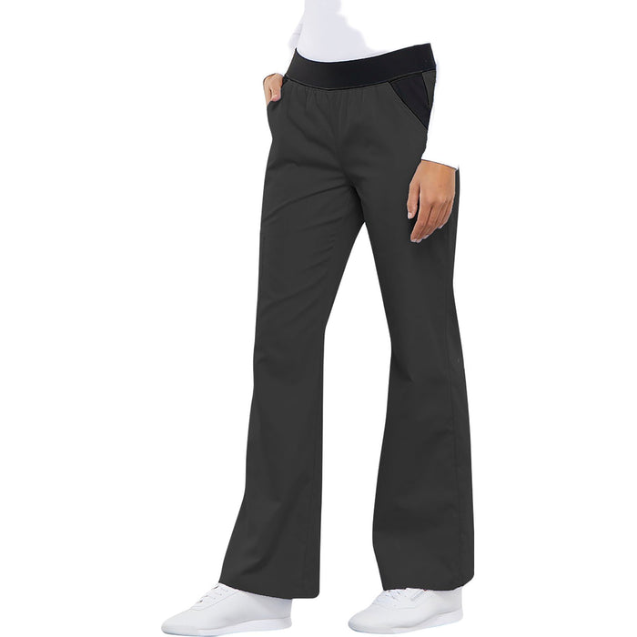 Cherokee Flexibles 1031 Scrubs Pants Women's Mid Rise Knit Waist Pull-On Pewter