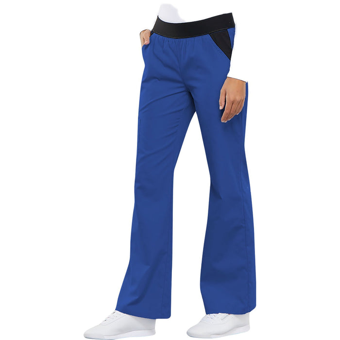 Cherokee Flexibles 1031 Scrubs Pants Women's Mid Rise Knit Waist Pull-On Royal