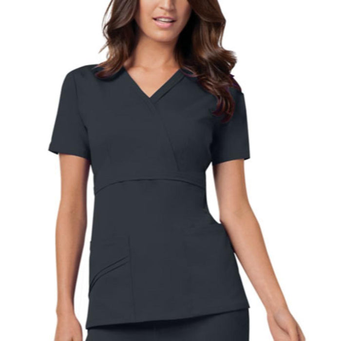 Cherokee Luxe 1841 Scrubs Top Women's Mock Wrap Pewter