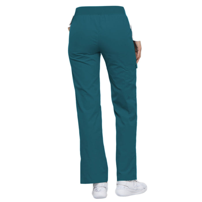 Cherokee Flexibles 2085 Scrubs Pants Women's Mid Rise Knit Waist Pull-On Caribbean Blue 3XL