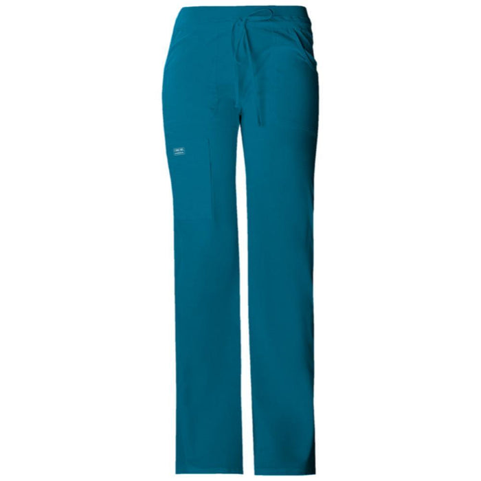 Cherokee Workwear Core Stretch 24001 Scrubs Pants Women's Low Rise Drawstring Cargo Caribbean Blue