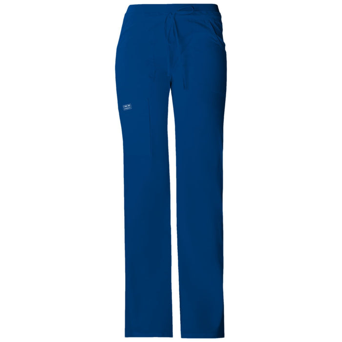 Cherokee Workwear Core Stretch 24001 Scrubs Pants Women's Low Rise Drawstring Cargo Galaxy Blue