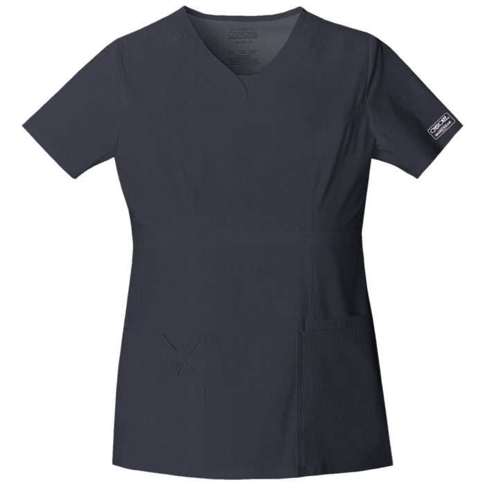 Cherokee Workwear Core Stretch 24703 Scrubs Top Women's V-Neck Pewter