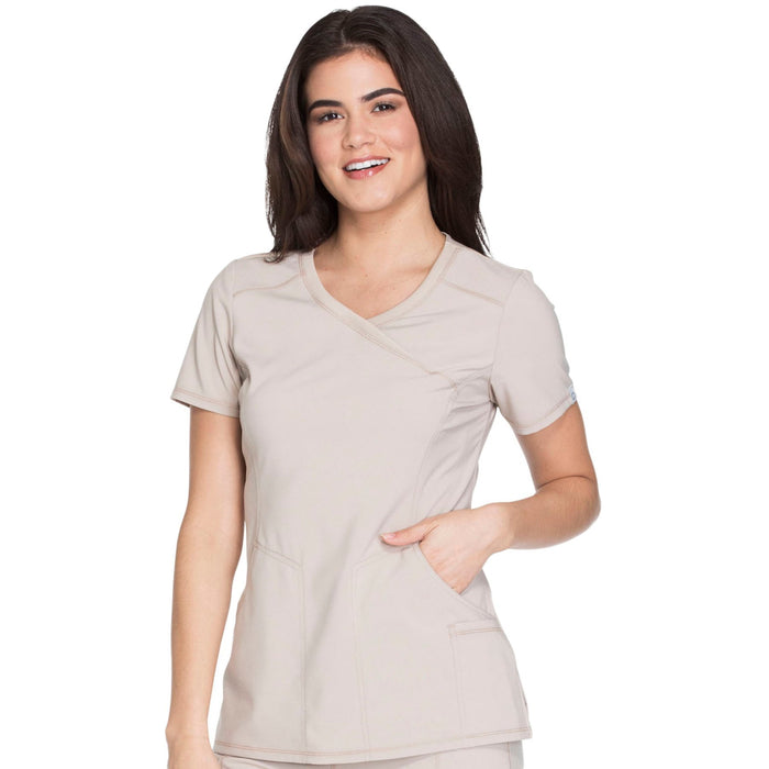 Cherokee Infinity 2625A Scrubs Top Women's Mock Wrap Khaki 3XL