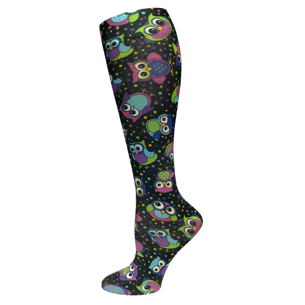 "Prestige 12"" soft comfort compression socks Party Owls Black"