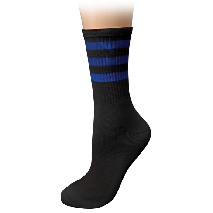 Prestige cushioned crew socks Black & Royal Stripes