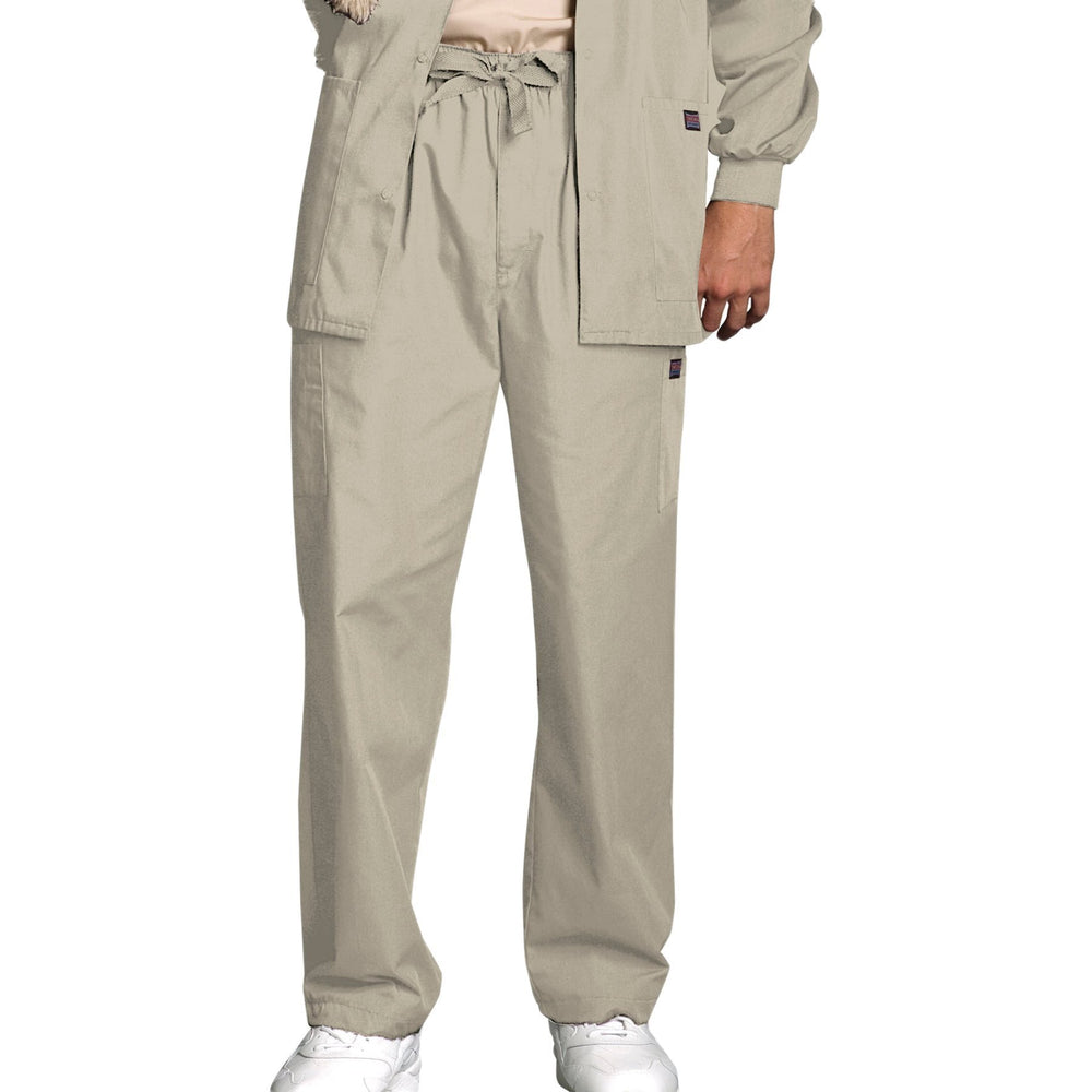 Cherokee Workwear 4000 Scrubs Pants Men's Drawstring Cargo Khaki