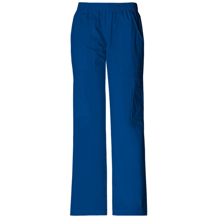 Cherokee Workwear Core Stretch 4005 Scrubs Pants Women's Mid Rise Pull-On Cargo Galaxy Blue
