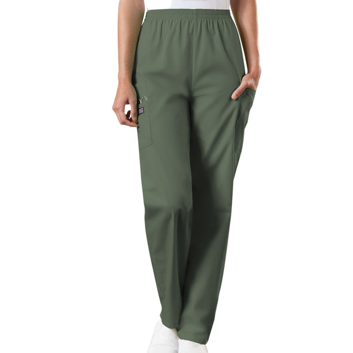 Cherokee Workwear 4200 Scrubs Pants Women's Natural Rise Tapered Pull-On Cargo Olive