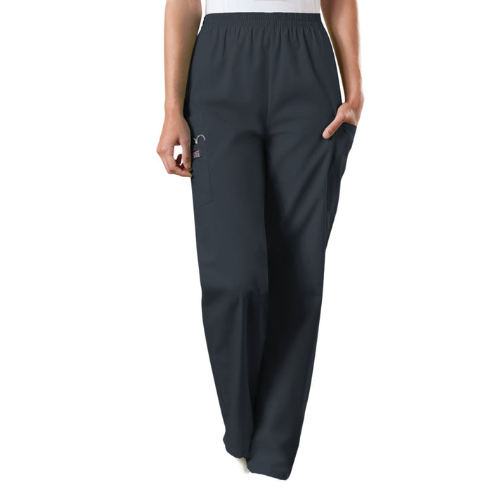 Cherokee Workwear 4200 Scrubs Pants Women's Natural Rise Tapered Pull-On Cargo Pewter