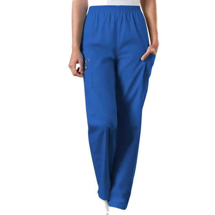 Cherokee Workwear 4200 Scrubs Pants Women's Natural Rise Tapered Pull-On Cargo Royal