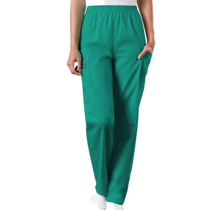 Cherokee Workwear 4200 Scrubs Pants Women's Natural Rise Tapered Pull-On Cargo Surgical Green
