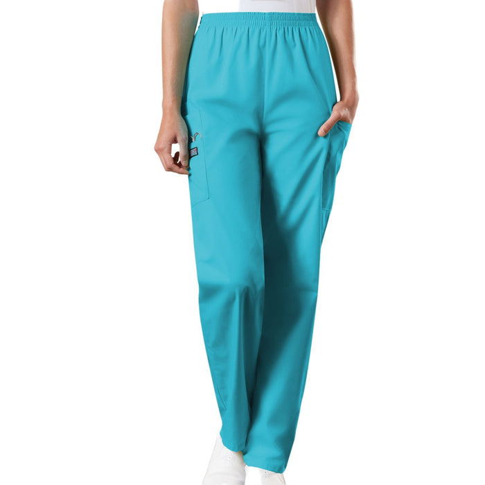 Cherokee Workwear 4200 Scrubs Pants Women's Natural Rise Tapered Pull-On Cargo Turquoise