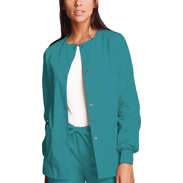 Cherokee Workwear 4350 Scrubs Jacket Women's Snap Front Warm-Up Teal Blue