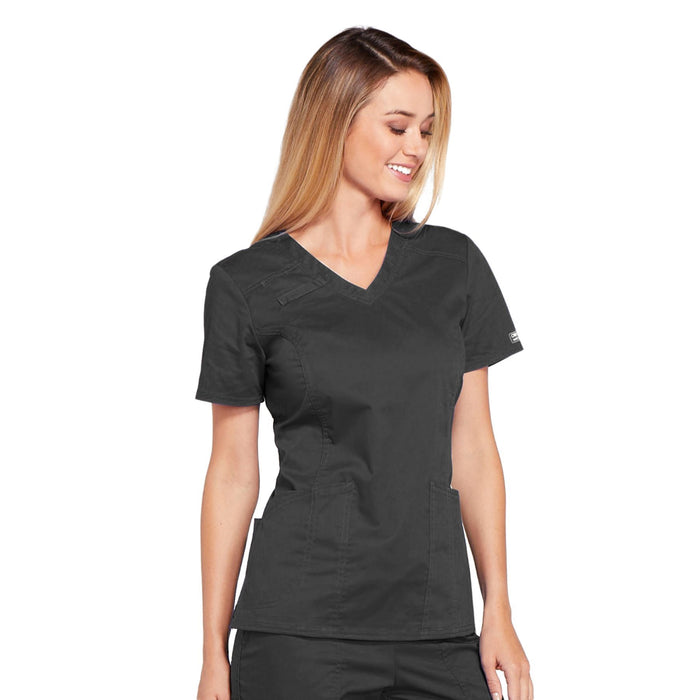 Cherokee Core Stretch 4710 Scrubs Top Women's V-Neck Pewter 5XL