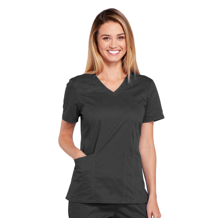 Cherokee Core Stretch 4710 Scrubs Top Women's V-Neck Pewter