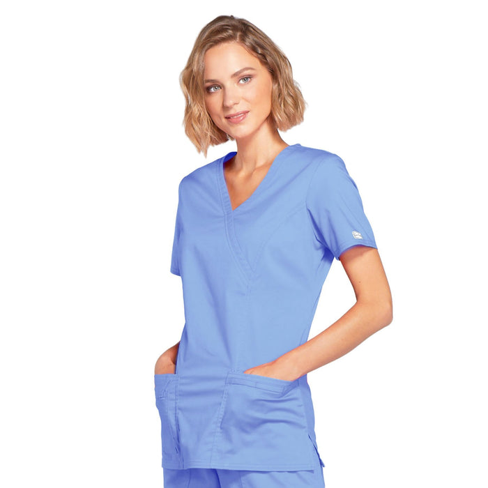 Cherokee Core Stretch 4728 Scrubs Top Women's Mock Wrap Ciel Blue 3XL