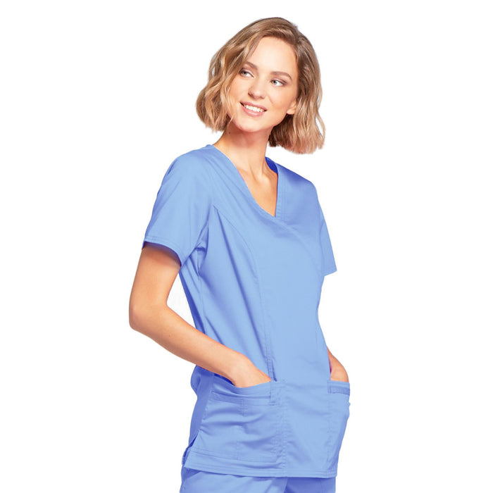 Cherokee Core Stretch 4728 Scrubs Top Women's Mock Wrap Ciel Blue 4XL