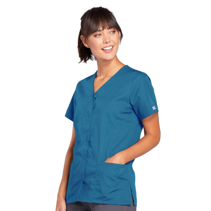 Cherokee Workwear 4770 Scrubs Top Women's Snap Front V-Neck Caribbean Blue 3XL