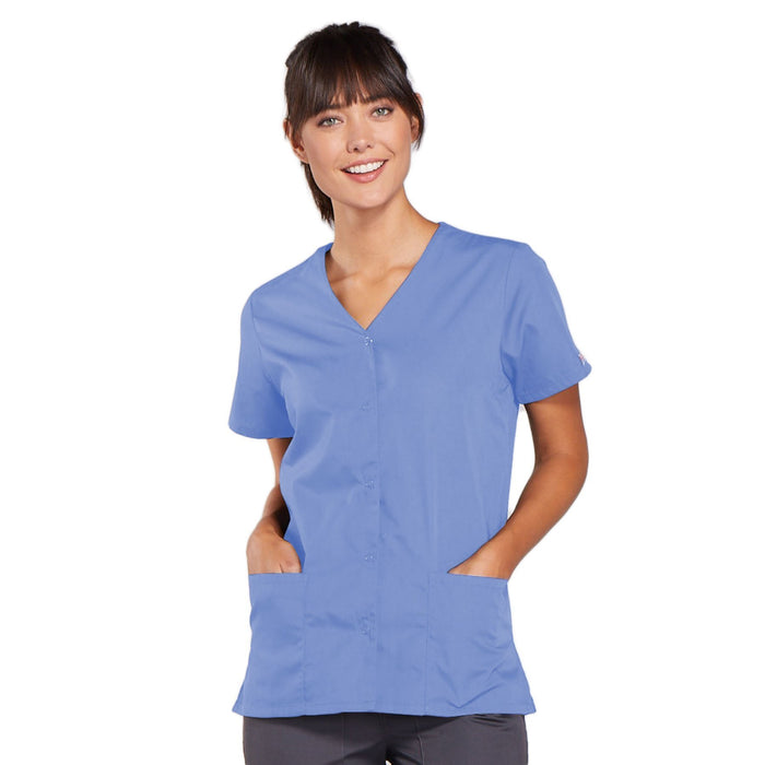 Cherokee Workwear 4770 Scrubs Top Women's Snap Front V-Neck Ciel Blue